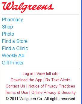 Walgreens' mobile site