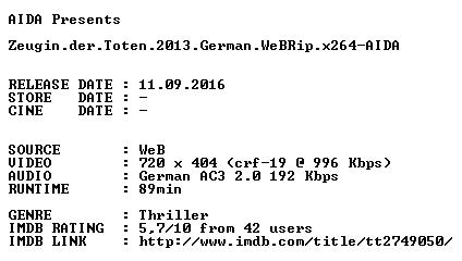 Zeugin der Toten 2013 German WeBRip x264-AIDA