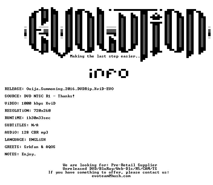 Ouija Summoning 2016 DVDRip XviD-EVO