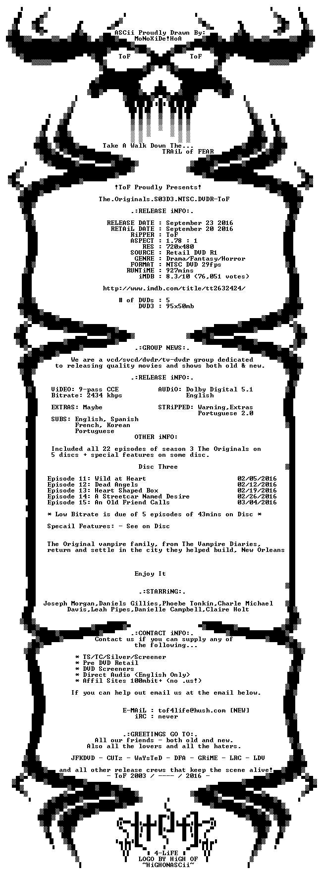 The Originals S03 NTSC DVDR-ToF