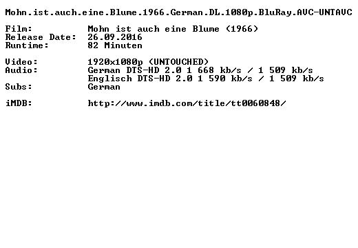 Mohn ist auch eine Blume 1966 German DL 1080p BluRay AVC-UNTAVC