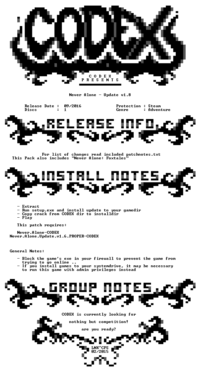 Never Alone Update v1 8-CODEX