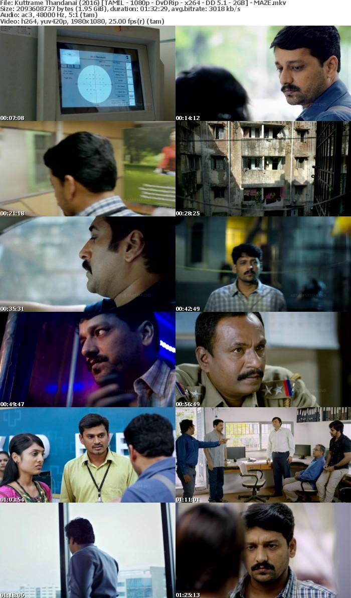 [Tamil] Kuttrame Thandanai (2016) [TAMIL - 1080p - DvDRip - x264 - DD 5 1 - 2GB] - MAZE