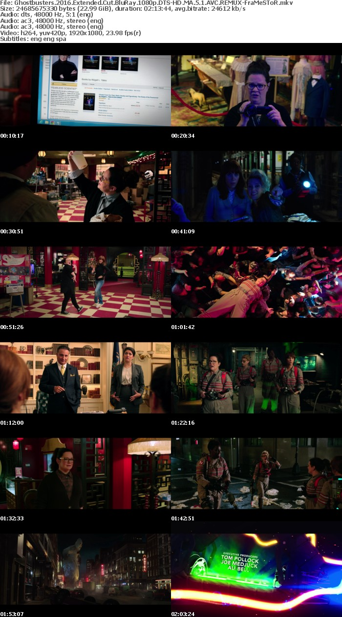 Ghostbusters 2016 Extended Cut BluRay 1080p DTS-HD MA 5 1 AVC REMUX-FraMeSToR