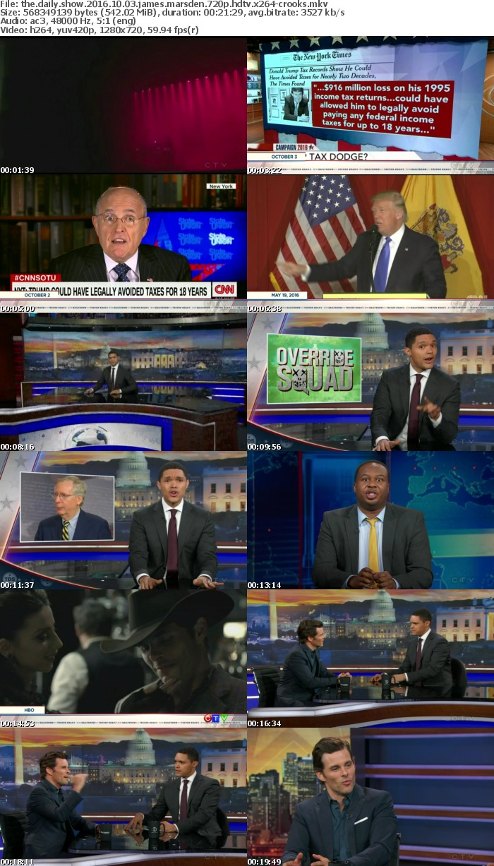 The Daily Show 2016 10 03 James Marsden 720p HDTV x264-CROOKS