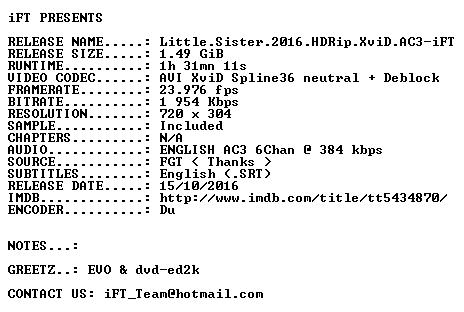 Little Sister 2016 HDRip XviD AC3-iFT