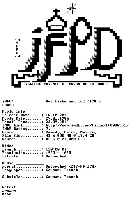 Auf Liebe und Tod 1983 DUAL COMPLETE BLURAY-iFPD