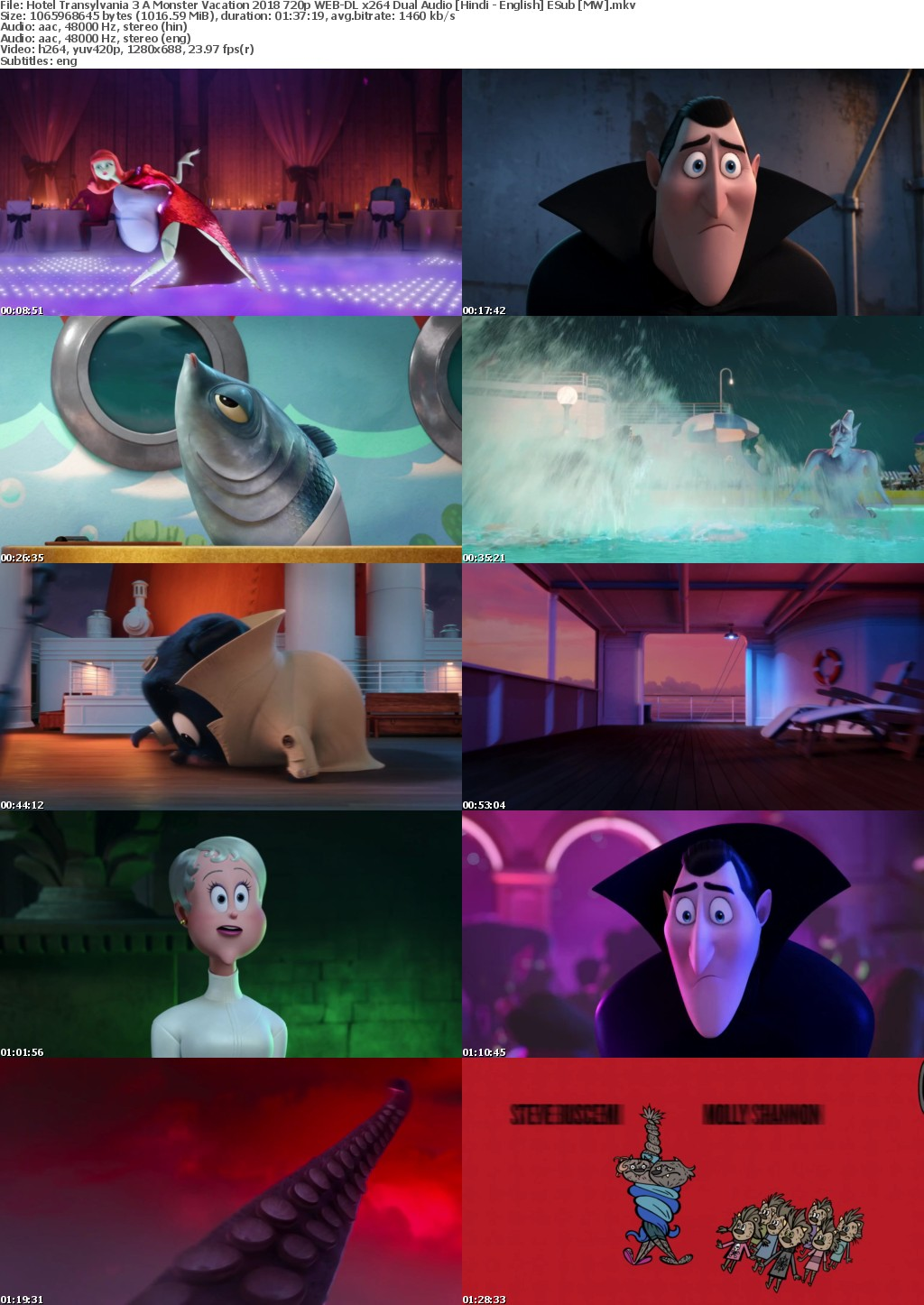 Hotel Transylvania 3 A Monster Vacation (2018) 720p WEB-DL x264 Dual Audio Hindi - English ESub MW