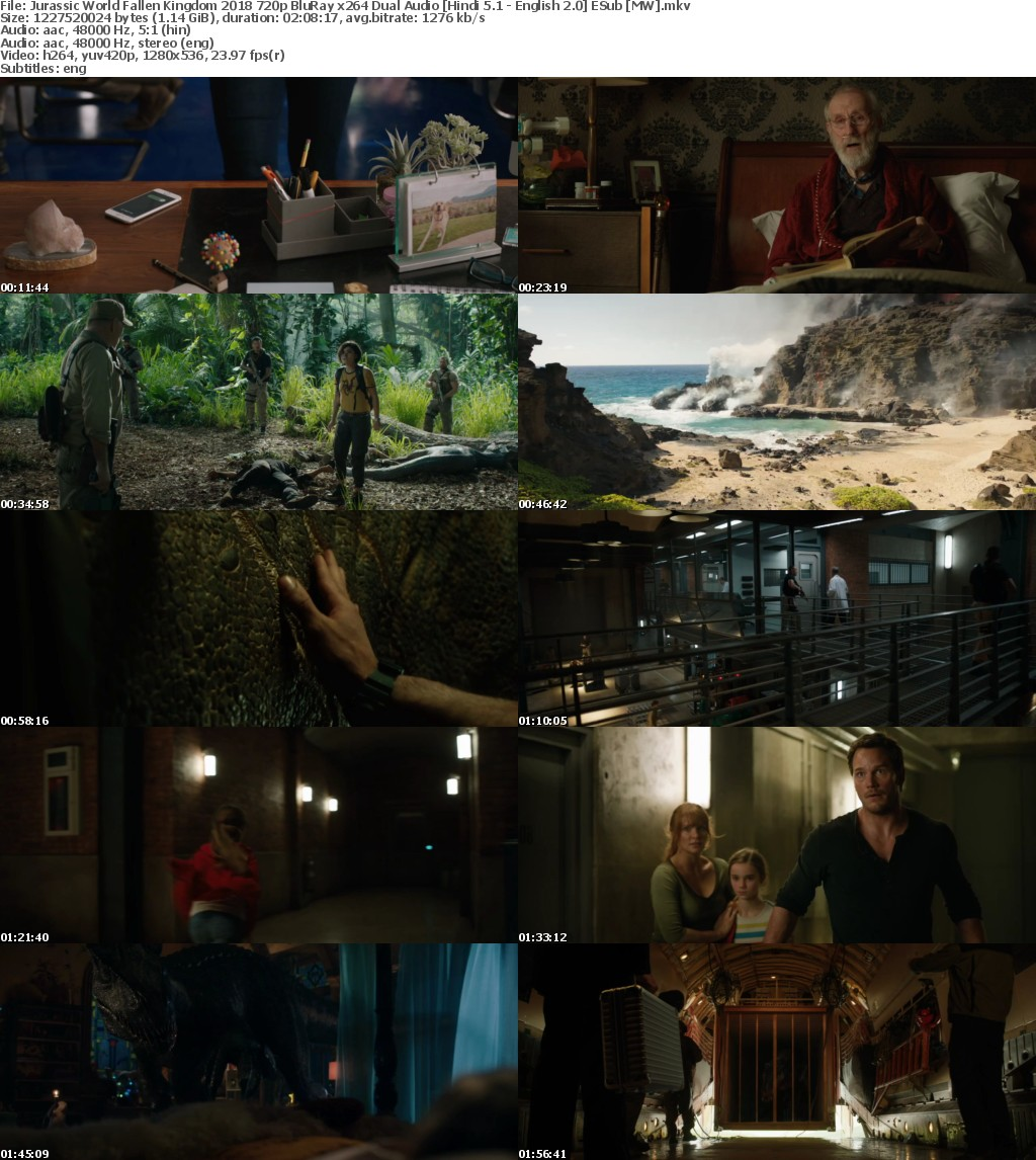 Jurassic World Fallen Kingdom (2018) 720p BluRay x264 Dual Audio Hindi 5.1 - English 2.0 ESub MW