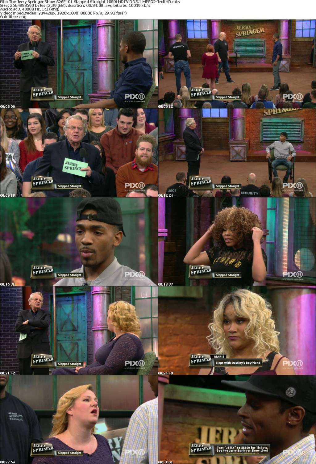 The Jerry Springer Show S26E101 Slapped Straight 1080i HDTV DD5 1 MPEG2-TrollHD - MPEG2