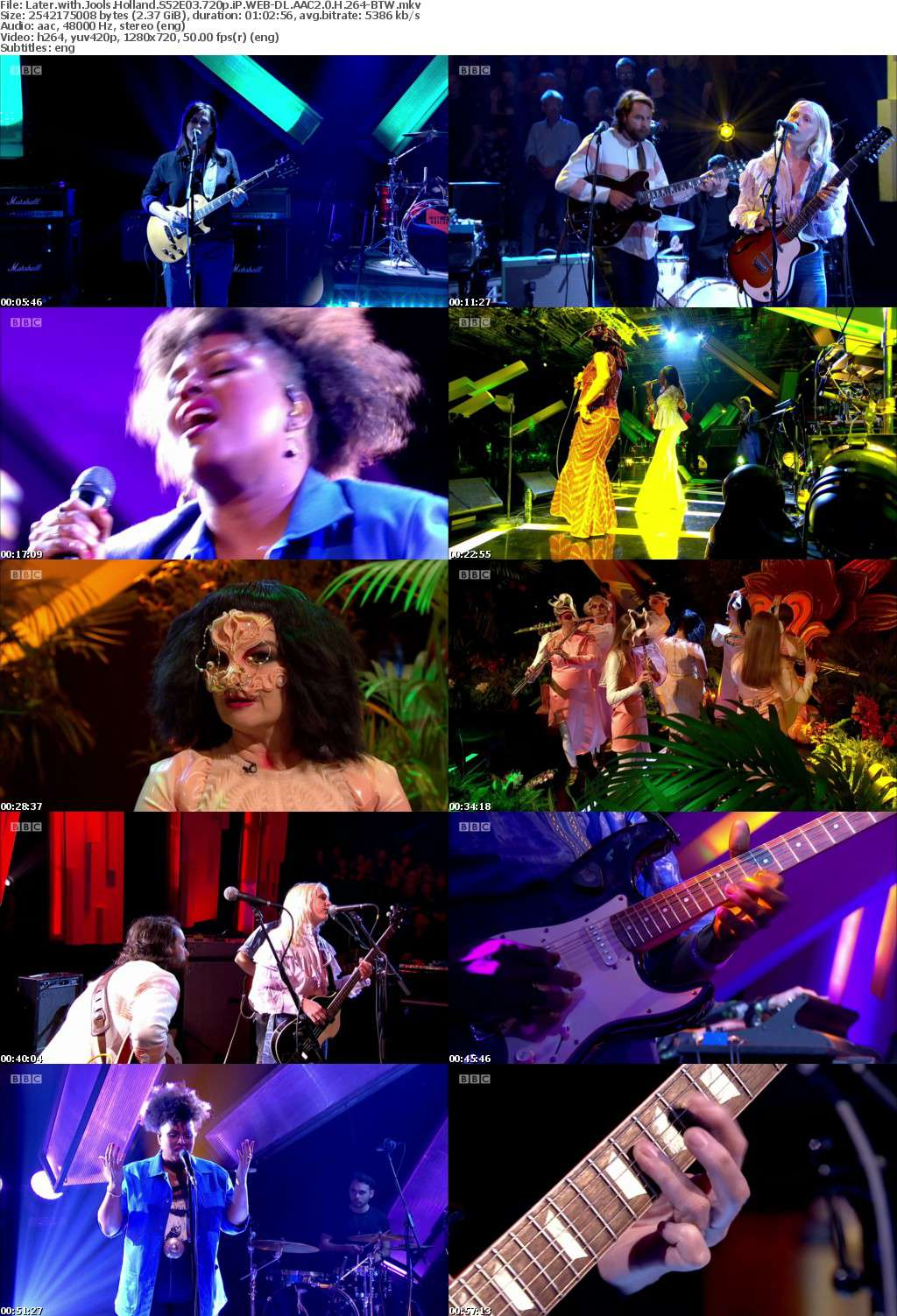 Later with Jools Holland S52E03 720p iP WEB-DL AAC2 0 H 264-BTW