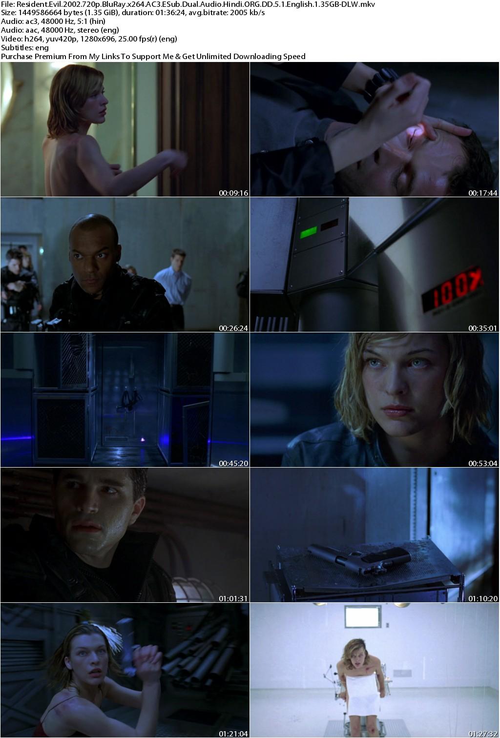 Resident Evil (2002) 720p BluRay Dual Audio [Hindi ORG DD 5.1+Eng] ESub 1.35GB-DLW