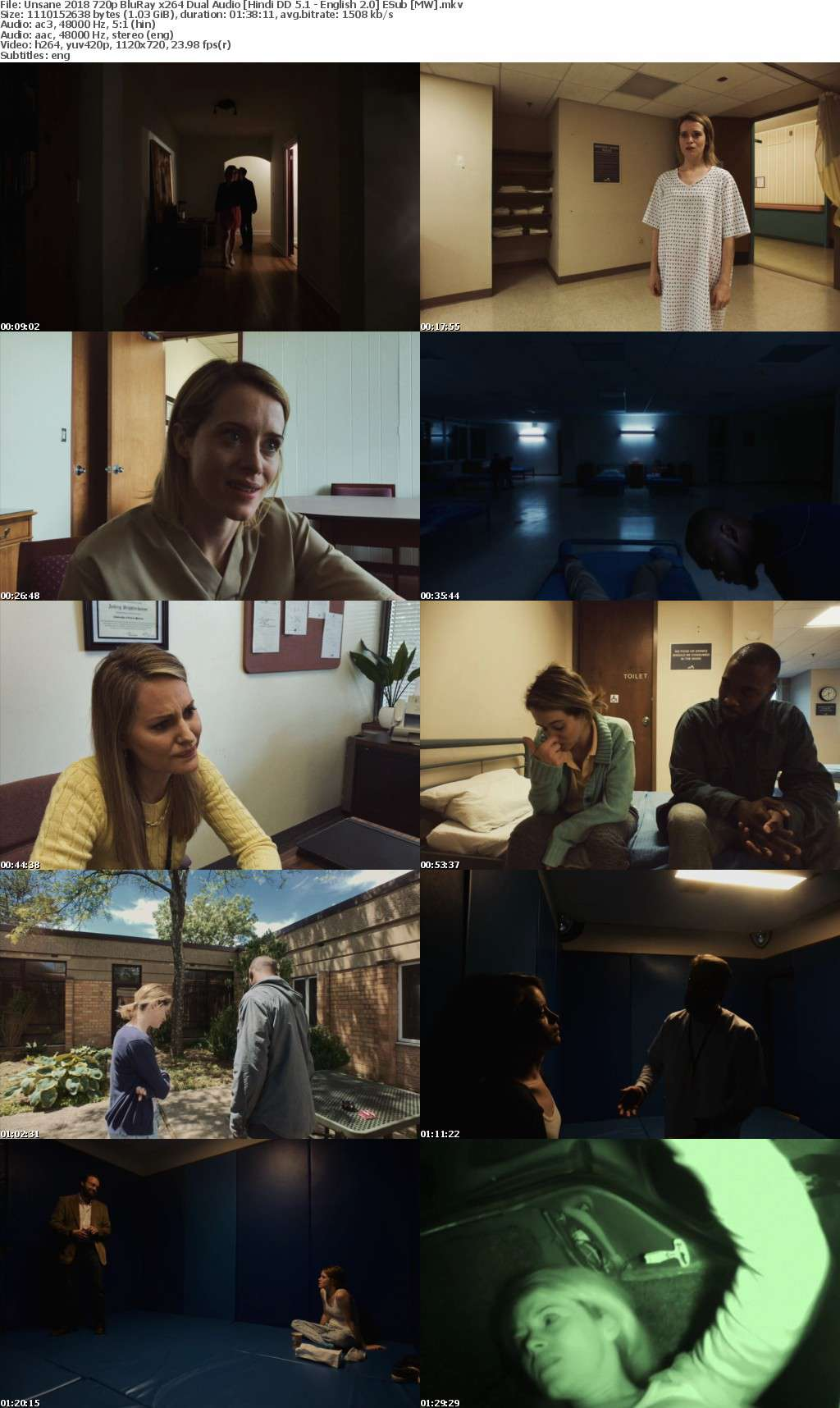 Unsane (2018) 720p BluRay x264 Dual Audio Hindi DD 5.1 - English 2.0 ESub MW
