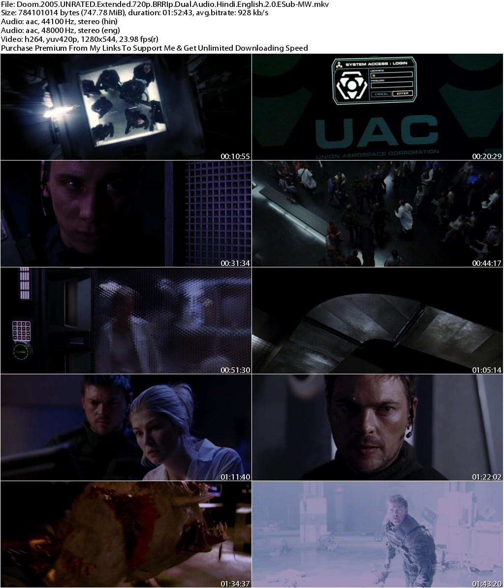 Doom (2005) UNRATED Extended 720p BRRIp Dual Audio [Hindi+English] ESub-MW