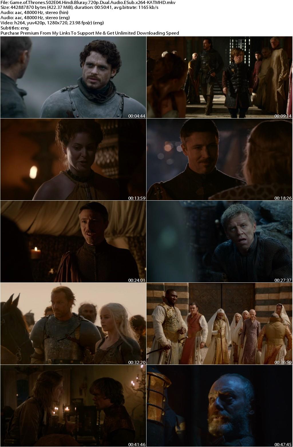 Game of Thrones S02E04 720p Bluray Dual Audio Eng Hindi ESub x264-KATMHD