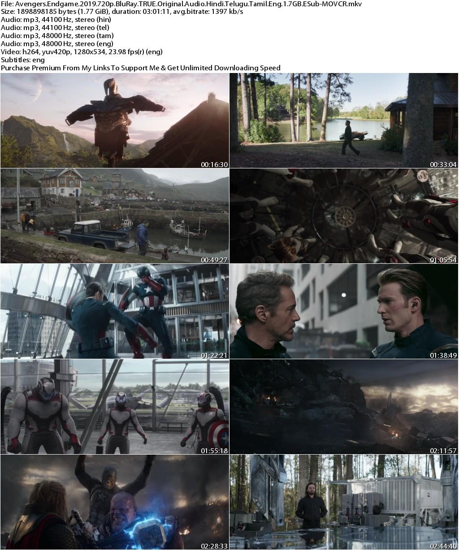Avengers Endgame (2019) 720p BluRay TRUE Original Audio Hindi Telugu Tamil Eng 1....