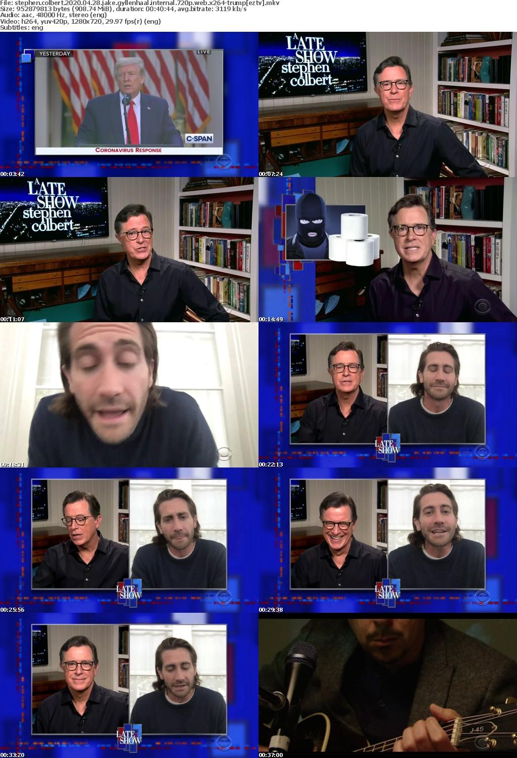 Stephen Colbert 2020 04 28 Jake Gyllenhaal iNTERNAL 720p WEB x264-TRUMP