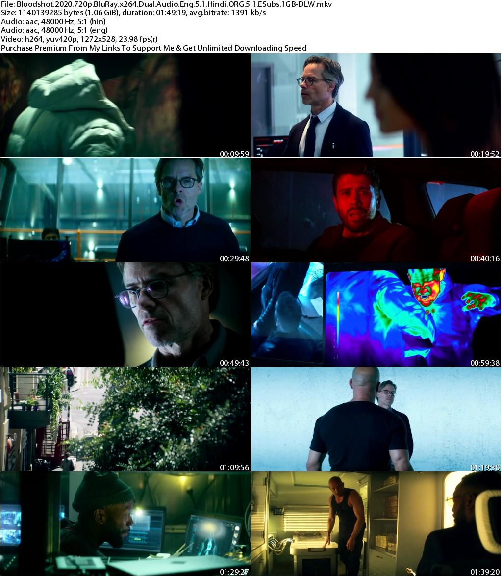 Bloodshot (2020) 720p BluRay x264 Dual Audio Eng 5.1 Hindi ORG 5.1 ESubs 1GB-DLW