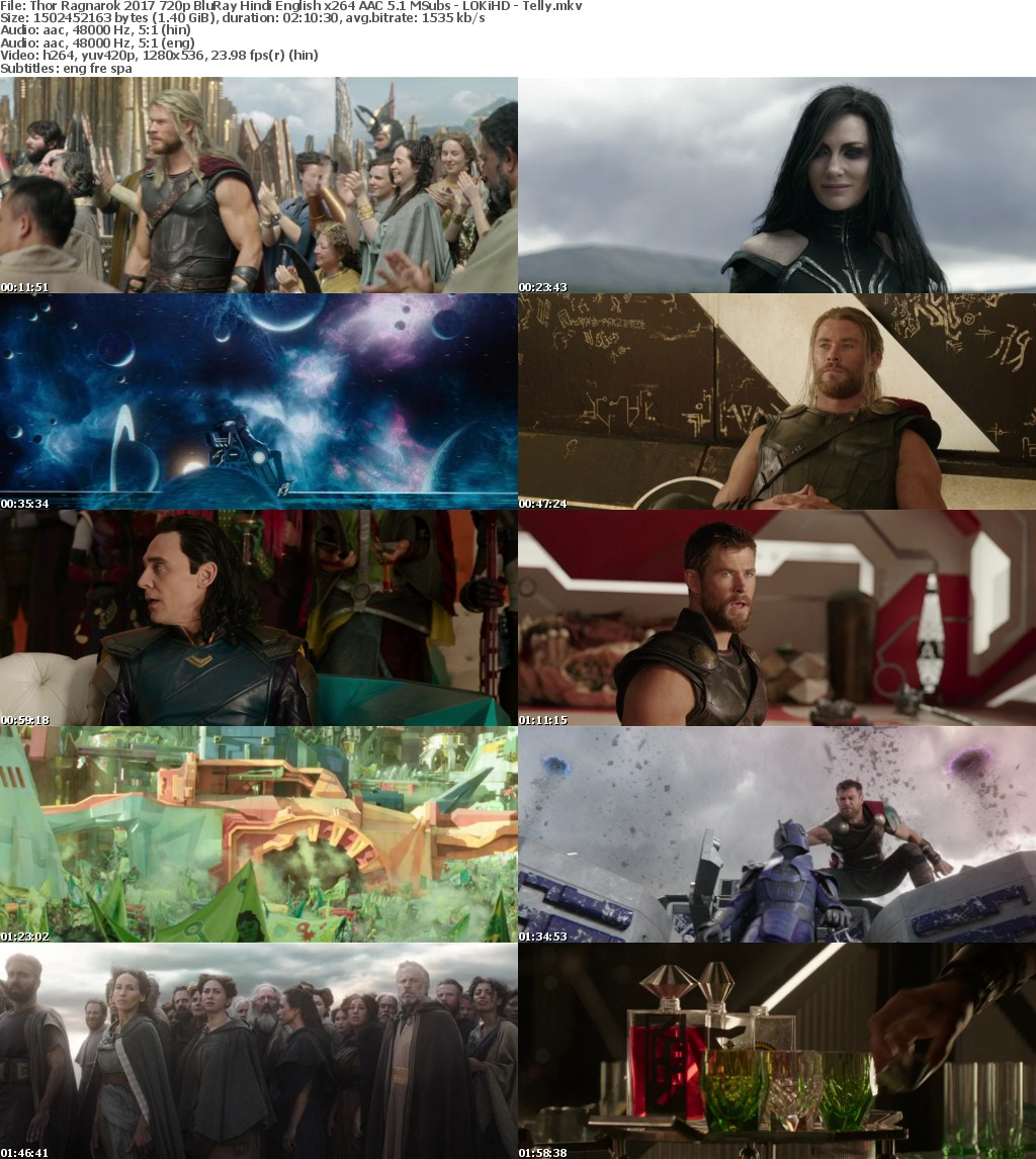 Thor Ragnarok (2017) 720p BluRay Hindi English x264 AAC 5.1 MSubs - LOKiHD - Telly