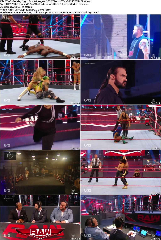 WWE Monday Night Raw 03 August 2020 720p HDTV x264 950MB-DLW